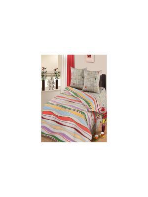 Комплект постельного белья Волна Арт Постель. Цвет: серо-коричневый
