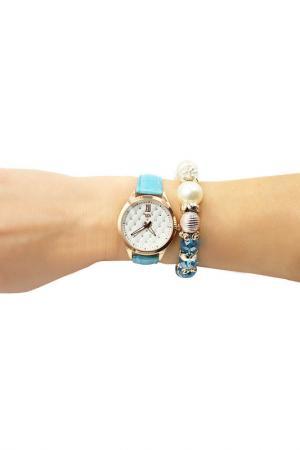 Набор: часы, браслет Taya. Цвет: золотистый, бирюзовый