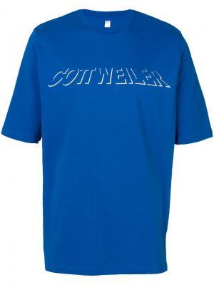 Футболка с голографическим логотипом Cottweiler. Цвет: синий