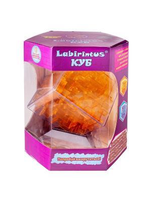 Лабиринтус Куб, 10см, жёлтый, прозрачный Labirintus. Цвет: светло-коричневый, рыжий, оранжевый
