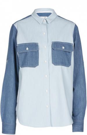 Джинсовая блуза прямого кроя с накладными карманами Rag&Bone. Цвет: синий