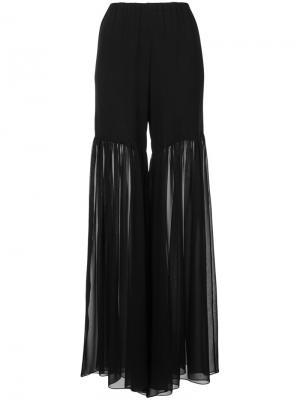 Полупрозрачные брюки-палаццо с драпировками Caroline Constas. Цвет: чёрный