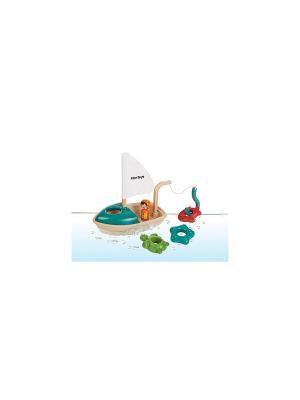 Лодка PLAN TOYS. Цвет: бежевый, красный, желтый, бирюзовый