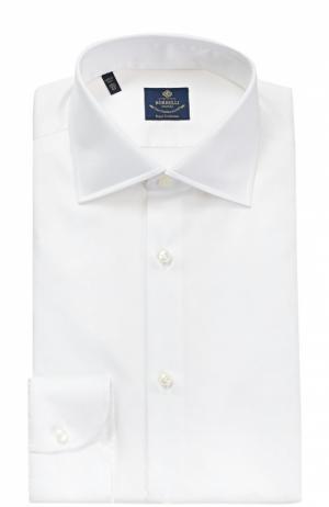 Хлопковая сорочка с воротником кент Luigi Borrelli. Цвет: белый