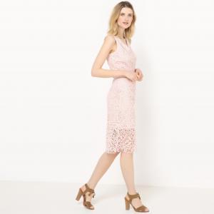 Платье из гипюра, 100% хлопок La Redoute Collections. Цвет: карамель,телесный,темно-синий