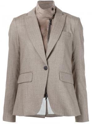 Блейзер с кожаным воротником Veronica Beard. Цвет: коричневый