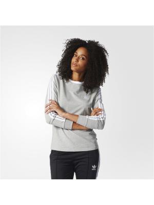 Футболка с дл.рук. жен. 3STRIPES LS TEE Adidas. Цвет: серый