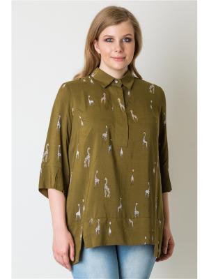 Блузка Vis-a-vis. Цвет: хаки, коричневый, молочный
