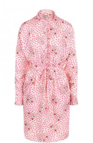 Платье-рубашка с поясом и принтом Zadig&Voltaire. Цвет: розовый