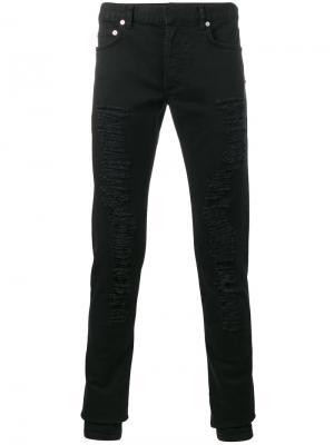 Рваные джинсы узкого кроя Dior Homme. Цвет: чёрный