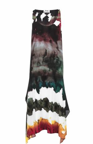 Платье-миди без рукавов с принтом Acne Studios. Цвет: розовый
