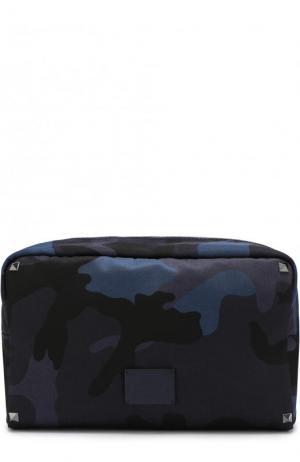 Текстильный несессер  Garavani на молнии Valentino. Цвет: темно-синий