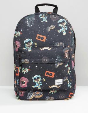Spiral Рюкзак с принтом Space Party. Цвет: черный