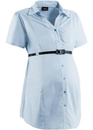 Бизнес-мода для беременных: блузка-стретч + ремень (2 изд.) (нежно-голубой) bonprix. Цвет: нежно-голубой