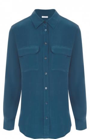 Шелковая блуза прямого кроя с накладными карманами Equipment. Цвет: синий