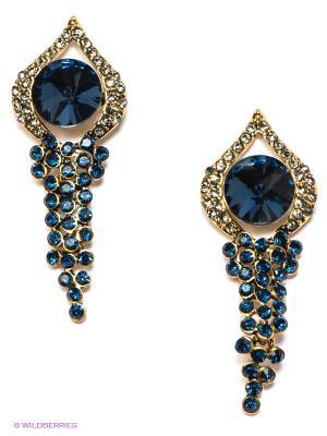 Серьги Lovely Jewelry. Цвет: золотистый, темно-синий