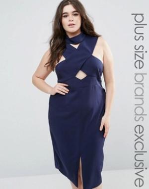 Lavish Alice Plus Платье-футляр с перекрестной отделкой горловины и халтером Alic. Цвет: темно-синий
