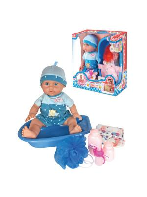 Пупс  с ванной, 35 см Lisa Jane. Цвет: синий, голубой