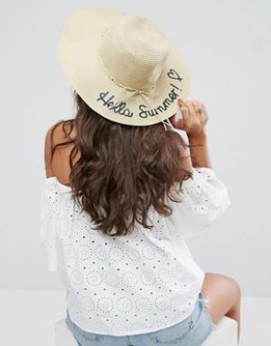 Boardwalk Соломенная шляпа Boardmans Hello Summer. Цвет: кремовый