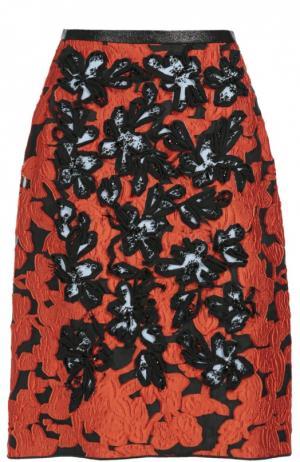 Юбка-миди с цветочным принтом и фактурной отделкой Oscar de la Renta. Цвет: разноцветный