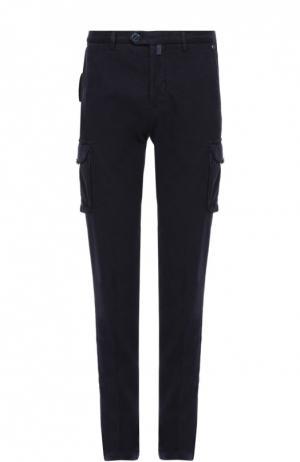 Хлопковые брюки карго Kiton. Цвет: темно-синий
