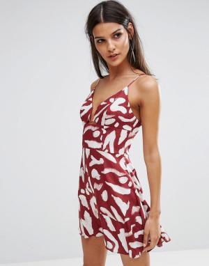 Finders Keepers Платье мини с принтом Mercurial. Цвет: красный