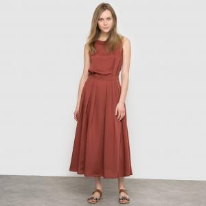 Платье длинное La Redoute Collections. Цвет: розовый телесный