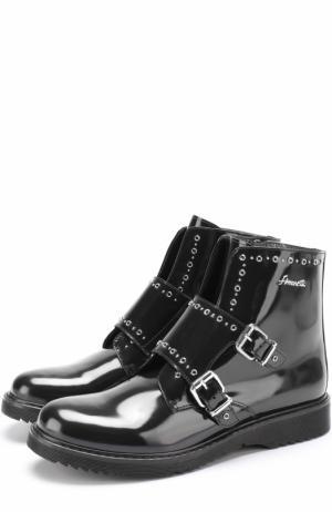 Кожаные ботинки с ремешками Simonetta. Цвет: черный