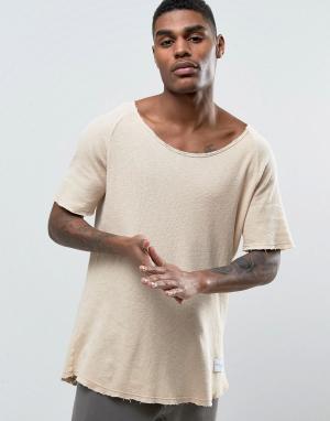 Criminal Damage Свободная футболка из вафельного трикотажа. Цвет: бежевый