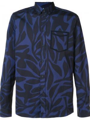 Рубашка с лиственным принтом Oamc. Цвет: синий