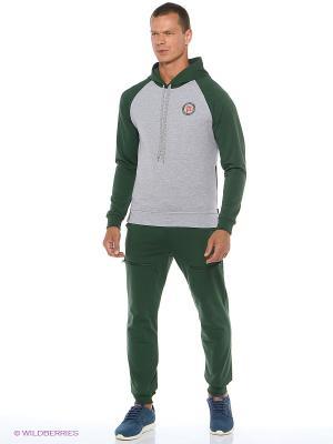 Спортивный костюм  Ник Runika. Цвет: темно-зеленый, серый меланж
