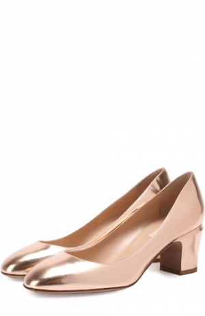 Туфли Tan-Go из металлизированной кожи на низком каблуке Valentino. Цвет: бежевый