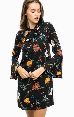 Черное платье с цветочным принтом MORE &. Цвет: черный