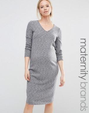 New Look Maternity Платье миди в рубчик с V-образным вырезом для беременных Mate. Цвет: синий