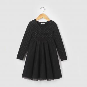 Платье из двух материалов на 3-12 лет R édition. Цвет: черный