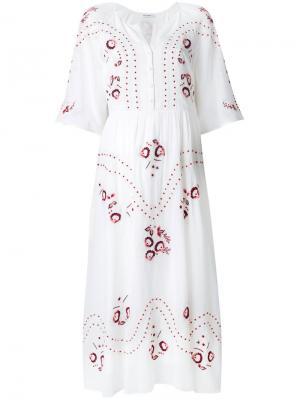 Платье миди с цветочной вышивкой Vilshenko. Цвет: белый