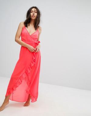 New Look Пляжное платье макси с запахом. Цвет: оранжевый