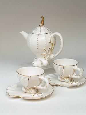 Чайный набор Pavone. Цвет: белый, золотистый