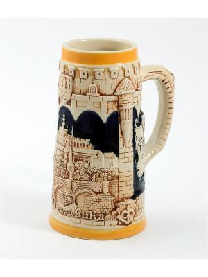 Пивная кружка коллекционная Замок в Праге BURGER. Цвет: коричневый, оранжевый, темно-бежевый