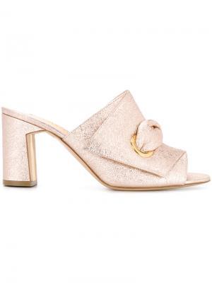 Мюли на среднем каблуке с металлическим отблеском Rupert Sanderson. Цвет: розовый и фиолетовый