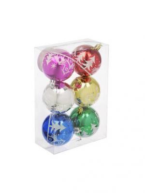 Набор шаров 6шт, 7см, пластик, Новогодний узор, 3 дизайна СНОУБУМ. Цвет: красный, желтый, синий