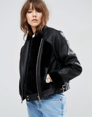 ASOS Байкерская куртка из искусственной кожи с меховыми вставками. Цвет: черный