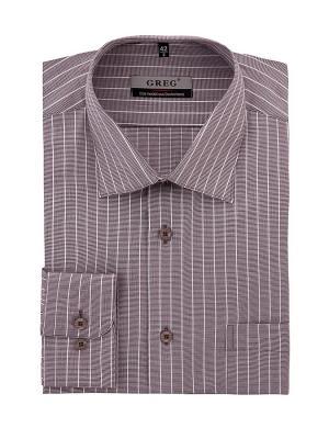 Рубашка GREG. Цвет: коричневый, белый