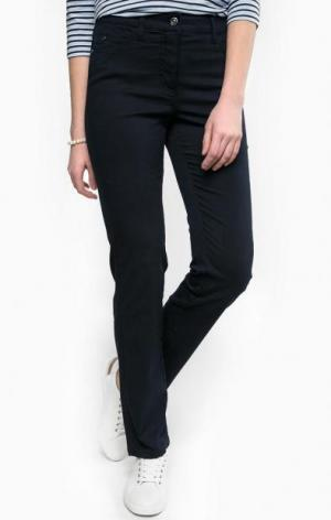 Темно-синие брюки из хлопка olsen. Цвет: синий