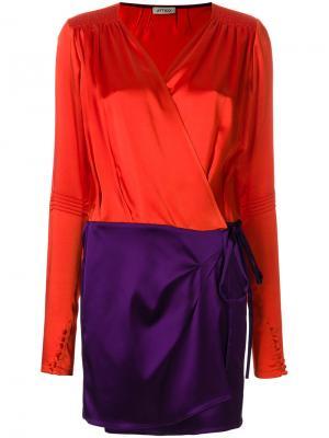 Короткое платье с запахом панельным дизайном Attico. Цвет: жёлтый и оранжевый
