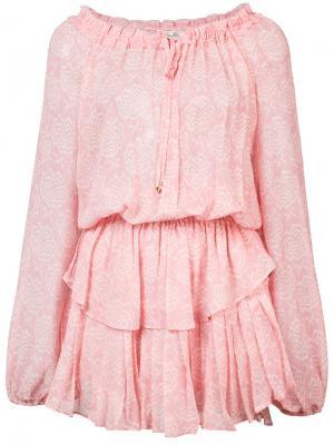 Платье с цветочным принтом Love Shack Fancy. Цвет: розовый и фиолетовый