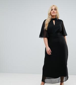 Praslin Платье макси с высоким воротником и вырезами. Цвет: черный