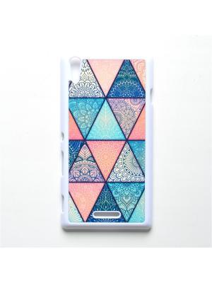 Чехол для Sony Xperia T3 Геометрический принт Boom Case. Цвет: бирюзовый, розовый