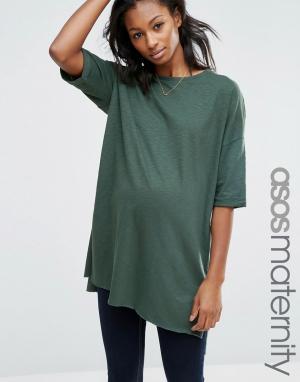 ASOS Maternity Длинная футболка для беременных с разрезами. Цвет: зеленый