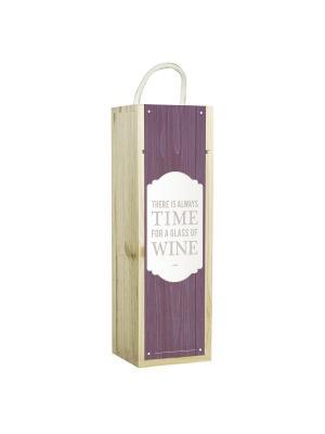 Подарочная коробка для вина There is always time for a glass off wine Contento. Цвет: светло-коричневый, белый